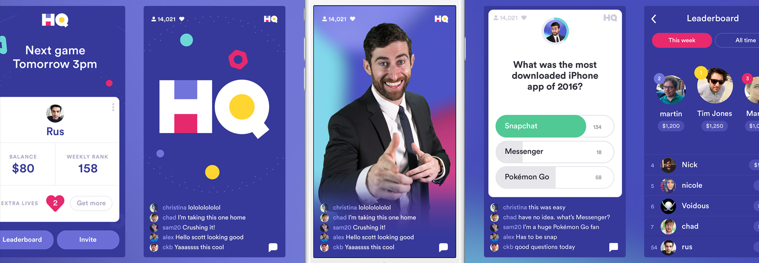 Screenshots of HQ Trivia